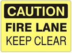 CAUTION FIRE LANE KEEP CLEAR Sign - Choose 7 X 10 - 10 X 14, Self Adhesive Vinyl, Plastic or Aluminum.