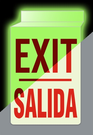 Bilingual Glow in the Dark EXIT Sign - Double-Sided 13 X 10