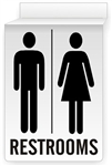 Drop Ceiling RESTROOMS Sign 13 X 10 Double-Sided