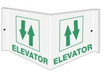 ELEVATOR 3-Way Sign, Unique 180° design visible from either side as well as from the front