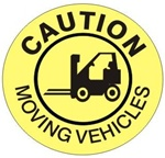 Non-Slip CAUTION MOVING VEHICLES, Walk On 17 inch diameter floor Decal