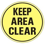 Non-Slip KEEP AREA CLEAR, Walk On 17 inch diameter Floor Decal