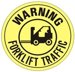 Non-Slip WARNING FORKLIFT TRAFFIC, Walk On 17 inch diameter floor Decal