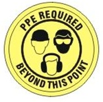 Non-Slip, PPE REQUIRED BEYOND THIS POINT, Walk On 17 inch diameter Floor Decal