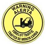 Non-Slip WARNING FORKLIFT TRAFFIC, Walk On 17 inch diameter, Floor Decal