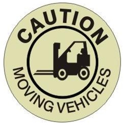 (GLOW in the Dark) CAUTION MOVING VEHICLES, Walk On 17 inch diameter, floor decal