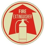 FIRE EXTINGUISHER (GLOW in the Dark) Walk On 17 inch diameter, floor decal