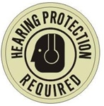 HEARING PROTECTION REQUIRED (GLOW in the Dark) Walk On 17 inch diameter, floor decal
