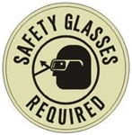 SAFETY GLASSES REQUIRED (GLOW in the Dark) Walk On 17 inch diameter, floor decal