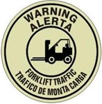 WARNING FORKLIFT TRAFFIC (GLOW in the Dark) - Walk On 17 inch diameter, floor decal