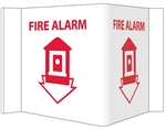 "3-Way Fire Alarm Wall Mount Sign - Unique 180° construction design that stands out, visible from 180 degrees, Choose from 2 sizes, 6"" X 9"" or 8"" X 15"""
