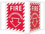 "3-Way Fire Extinguisher Signs, Unique 180° construction design that stands out, visible from 180 degrees, 6"" X 9"""