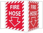 "3-Way Fire Hose Signs, Unique 180° construction design that stands out, visible from 180 degrees, 6"" X 9"""
