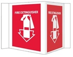 "3-Way Fire Extinguisher Signs,  Unique 180° construction design that stands out, visible from 180 degrees, Choose from 2 sizes, 6"" X 9"" or 8"" X 15"""