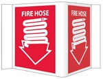 "3-Way Fire Hose Sign, Unique 180° construction design that stands out, visible from 180 degrees, Choose from 2 sizes, 6"" X 9"" or 8"" X 15"""