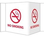 "3-Way No Smoking Signs, Unique 180° construction design that stands out, visible from 180 degrees, Choose from 2 sizes, 6"" X  9"" or 8"" X 15"""