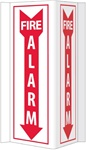 Fire Alarm 3-Way Sign. 16 X 8-3/4 Unique 180° construction design that stands out, visible from 180 degrees