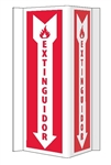 3-Way Bilingual Fire Extinguisher Sign - 16 X 8-3/4 Unique 180° construction design that stands out, visible from 180 degrees