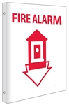 2-Way Fire Alarm Sign, Unique 90° construction design that stands out, visible from both sided