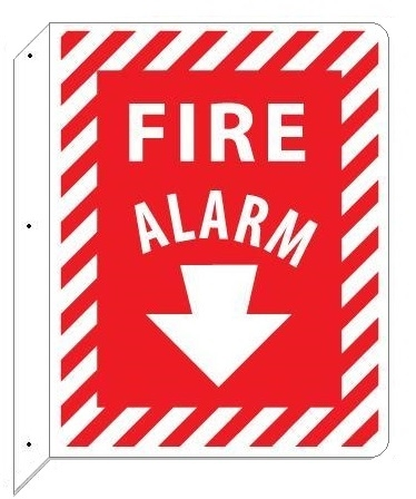 2-Way Fire Alarm Sign, Double Sided Unique 90° Wall mount design that stands out, visible from both sides