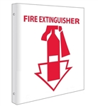 "2-Way Fire Extinguisher Double Sided w/arrow Sign, 10"" x 8""  Unique 90° construction design that stands out, visible from both sides"