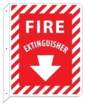 Double Sided Fire Extinguisher Wall Mount Arrow Sign 12 X 9 Unique 90° 2-Way construction design that stands out, visible from both sides
