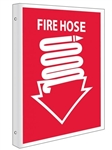 2 Way Fire Hose Symbol Sign, 10 X 8 Unique 90° construction design that stands out, visible from both sided
