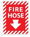 2-Way, Fire Hose Double Sided Arrow Down Flanged Signs - 12 X 9 Unique 90° construction design that stands out, visible from either side