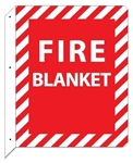 2-Way Fire Blanket Sign, 12 X 9 Unique 90° construction design that stands out, visible from both sides