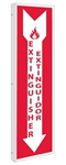 "Fire Extinguisher Spanish Bilingual  2-WaySign, 18"" X 4"" Unique 90° construction design that stands out, visible from both sided"