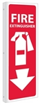 2 Way Fire Extinguisher Symbol w/arrow Sign 12 X 4 Unique 90° Wall Mount construction design that stands out, visible from both sides