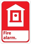 FIRE ALARM (Symbol) Sign - Choose 7 X 10 - 10 X 14, Self Adhesive Vinyl, Plastic or Aluminum.