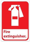 FIRE EXTINGUISHER (Symbol) Sign, Choose 7 X 10 - 10 X 14, Self Adhesive Vinyl or Aluminum.