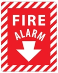 FIRE ALARM arrow down Sign - 12 X 9 Self Adhesive Vinyl or Plastic