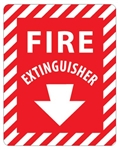Striped Border FIRE EXTINGUISHER Sign - 12 X 9, Self Adhesive Vinyl, Plastic or Aluminum.