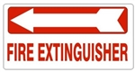 FIRE EXTINGUISHER arrow left Sign, 6.5 X 14 - Choose from Self Adhesive Vinyl or Plastic