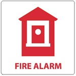 FIRE ALARM with Graphic Sign, 7 X 7 - Choose Self Adhesive Vinyl or Plastic