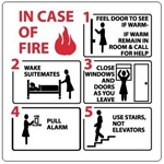 IN CASE OF FIRE... EVACUATION Sign, 7 X 7 - Choose Self Adhesive Vinyl or Plastic