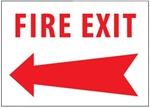 Left Arrow FIRE EXIT Sign, 10 X 14 Choose from Self Adhesive Vinyl or Plastic