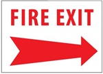 FIRE EXIT arrow right Sign, 10 X 14 - Choose Self Adhesive Vinyl or Plastic