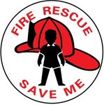 FIRE RESCUE SAVE ME, Window Stickers 4 inch diameter, Pressure Sensitive