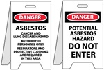 Danger Asbestos Warning / Potential Asbestos Hazard Do Not Enter - Reversible Two Sided Flood Stands