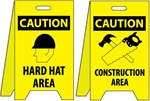 Caution Hard Hat Area/Construction Area - Reversible Two Sided Flood Stands