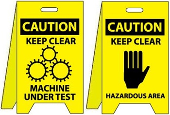 Caution Keep Clear Machine Under Test/Keep Clear Hazardous Area - Reversible Two Sided Flood Stands