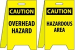 Caution Overhead Hazard/Hazardous Area - Reversible Two Sided Flood Stands