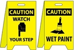 Caution Watch Your Step/Wet Paint - Two Sided Flood Stand Sign