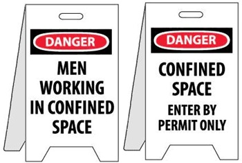 Danger Men Working In Confined Space/Confined Space Enter By Permit Only - Reversible Two Sided Flood Stands
