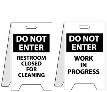 Do Not Enter Restroom Closed For Cleaning Work in Progress   Two Sided  Flood Stands. Restroom Closed For Cleaning Work in Progress   Floor Stand Signs