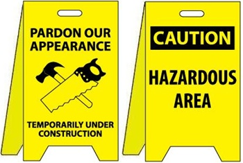 Pardon Our Appearance Temporarily Under Construction/Hazardous Area - Reversible Two Sided Flood Stands