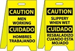 Caution Bilingual Men Working/Slippery When Wet - Reversible Two Sided Flood Stands